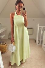 ZARA AW20 Apple Green Long Poplin Voluminous Halter Neck Midi Dress S M L BNWT