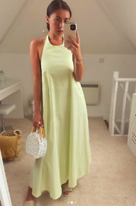 ZARA AW20 Apple Green Long Poplin Voluminous Halter Neck Midi Dress S M L BNWT
