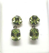 Authentic genuine green Peridot 2.90tcw 14k white gold Dangle post earrings NWOT