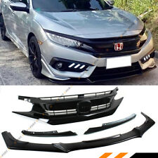 FOR 2016-2018 HONDA CIVIC FRONT BUMPER LIP SPLITTER + RS STYLE PIANO BLACK GRILL