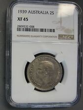 1939 AUSTRALIA 2 SHILLING (FLORIN) GRADED XF45 by NGC