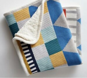 West Elm Pottery Barn Kids PBK Knit Cotton Geometric Stroller Blanket NWT Gift