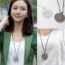 Women's Fashion Jewelry Long Silver Plated Crystal Flower Pendant Necklace Gift
