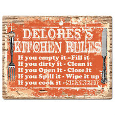Ppkr0222 Delores'S Kitchen Rules Plate Chic Sign Home Kitchen Decor Gift ideas