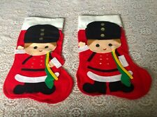 Vintage 2 Hand Made Felt Drummer Boy Christmas Stockings Red
