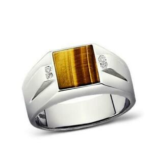 Solid 925 Sterling Silver Ring For Man Brown Tigers Eye with 4 Diamonds