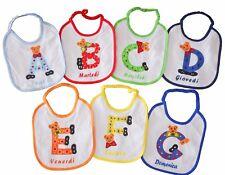 7 BAVETTE BAVAGLINI IMPERMEABILI  17x19 cm neonato animaletti e lettere alfabeto
