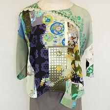 NEW NWT Citron Clothing Pocket Accent Floral 100% Silk Fukure Tunic Blouse XL