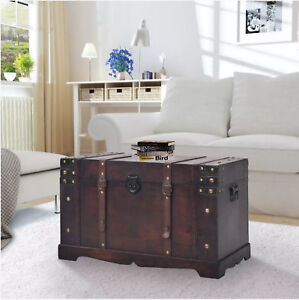 Wooden Storage Chest Treasure Box Blanket Toys Lid Bedding Brown Trunk Vintage
