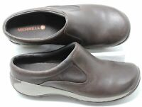 Womens Merrell Q Form 2 Espresso Brown Leather Clogs Mules Slip-On Shoes Sz 8.5