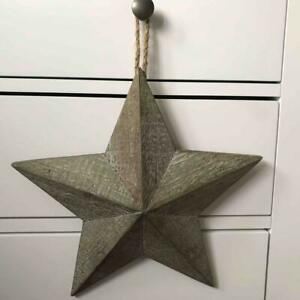 Shabby Country Chic Rustic Grey Washed Barn Star 29cm