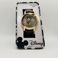 Mickey Mouse Collectible Gold Brown Leather Small Size Watch 30mm MCK612