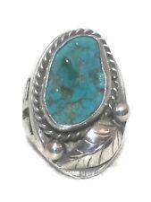 Vintage Sterling Silver Southwest Tribal Turquoise Ring Size 10 12.9g Men