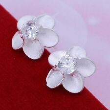*UK* 925 SILVER PLT FLOWER FRANGIPANI WHITE STUD CRYSTAL EARRINGS PETALS FLORAL