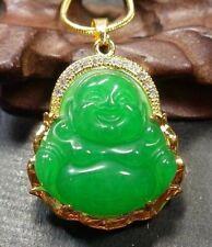 Yellow Gold Plate Green JADE Pendant Buddha God Diamond Imitation 100801