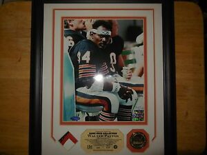 walter payton framed autographed 8x10 and a piece of a game used jersey c.o.a. b