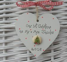 Personalised first 1st christmas as Mr & Mrs tree decoration 8cm wooden heart