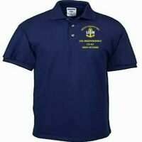 USS INDEPENDENCE CV-62 NAVY ANCHOR  EMBROIDERED LIGHT WEIGHT POLO SHIRT