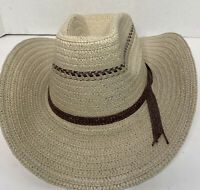 Lightweight Straw Cowboy Hat Western Size M Wire Edged Brim U Shape It