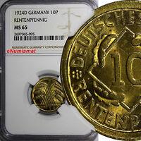 Germany,Weimar Republic Aluminum-Bronze 1924-D 10 Rentenpfennig NGC MS65  KM# 33