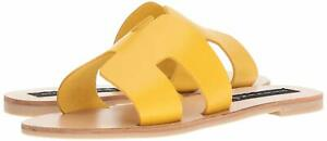 STEVEN by Steve Madden Greece Cutout Slide Sandals Yellow Leather, Pick A Size