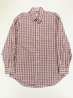 Peter Millar Button Down Long Sleeve Shirt Pink Plaid Men's Large
