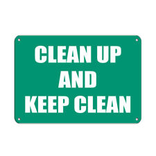 Aluminum Horizontal Metal Sign Multiple Sizes Clean up and Keep Lunch Room Break
