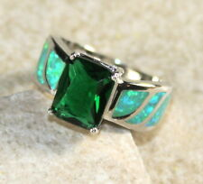 SILVER Elegant Green Fire Opal & Green Peridot Rectangular Ring Size 9, WR41305