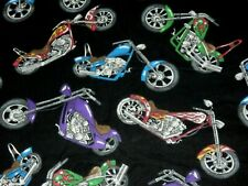 3 YARDS MOTORCYCLE Chopper Bike FLANNEL FABRIC Black Background