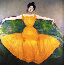 Oil Painting repro Max Kurzweil Lady in a yellow Dress