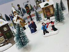 12pc Christmas Scene Set Miniature Light up LED Mini Village Resin Figures Town