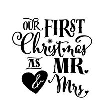 Our First Christmas As Mr & Mrs Vinyl X 2 Wine Bottle Decals