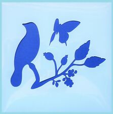 Flexible Stencil *SONG BIRD ON BRANCH* Butterfly Leaves Card Making 10cm x 10cm