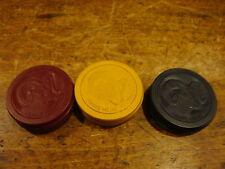 Vtg Rams Head Poker Chips Casino Gambling Red Yellow Blue Set of 12
