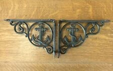 "2 BROWN ANCHOR THEMED SHELF BRACKETS 9"" ANTIQUE STYLE CAST IRON nautical boat"