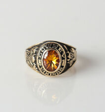 10k Gold Downey Vikings High School Women's 1978 Class Ring Sz 6.25 Amber stone