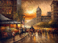 "Impressionism Oil painting landscape Paris Street scene sunset cityscape 36"""