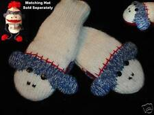NEW deLux BLUE SOCK MONKEY MITTENS knit ADULT animal Matching hat sold separate