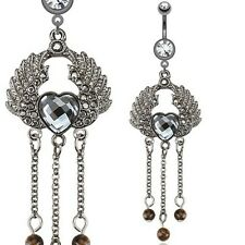 316L Surgical Steel Hematite Angel Wings w/ Heart Dangle Navel Belly Ring 14g