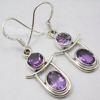 925 Sterling Silver PURPLE AMETHYST 2 STONE DESIGNER Nice Dangle Earrings 3.8 CM