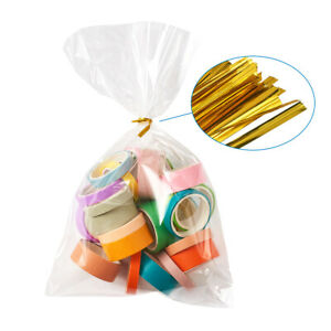 100 Clear Cellophane Bags Twist Tie Party Candy Gift Packing Favor Pouch 25x15cm
