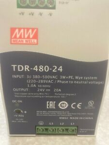 TDR48024 - Meanwell, Power Supply, 24 VDC, 3-Phase, 340-550VAC, (TDR-480-24)