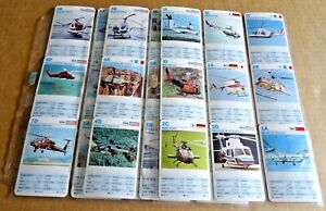 """MULTI-LIST OF1980s WADDINGTONS HELICOPTERS TOP TRUMPS  """"SINGLE CARDS"""" FREE P/P"""