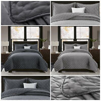 Grey Crushed Velvet Quilted Bedspread Bed Throw Double King Size Bedding Sets