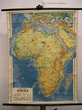 Schulwandkarte Wandkarte map Afrika Africa vintage 83x109cm ~1950 Karte aus Wien