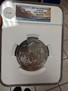 2011  5OZ SILVER 25C GLACIER NGC EARLY RELEASES MS 69 PL -#700