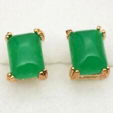 Pretty Chic Square Jade Women Stud Earring 18K Yellow Gold Plated Zircon Earring
