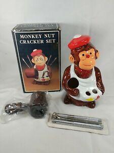"Vintage Ceramic Monkey Nut Cracker Set w/ Original Box 7.5"" Tall NIB"