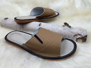 Natural Leather Men Slippers Open Toe US 8, US 9, US 10, US 11, US 12