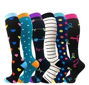 Fashion Compression Socks Women Men Medical Nursing Travel Stocking Sports UK